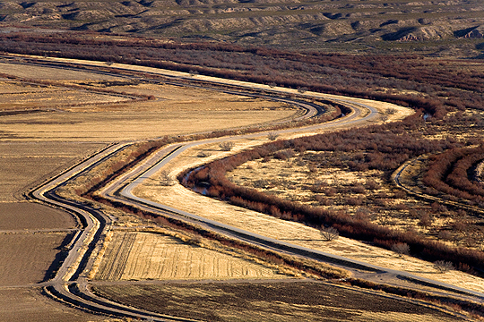 Aerial view of Border Fence construction, El Paso, Texas